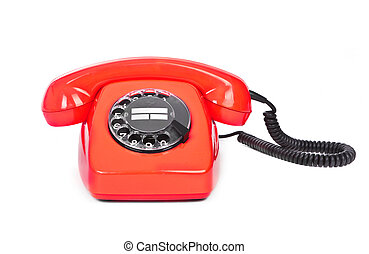 red bakelite dial phone - red bakelite phone on white...