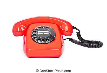 red bakelite dial phone - red bakelite phone on white...