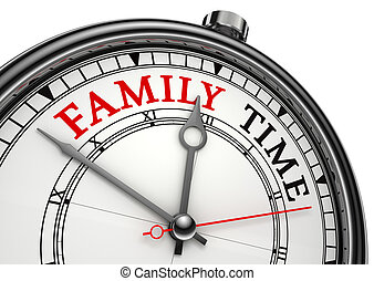 family time concept clock closeup isolated on white...