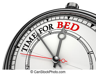 time for bed concept clock closeup isolated on white...
