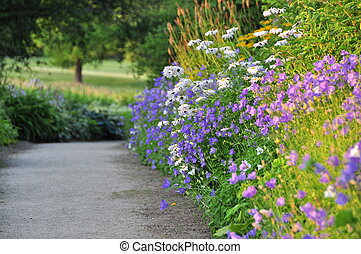Empty Path With Floral Border - Empty path meandering...