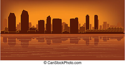 San Diego skyline with reflection in water