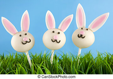 Easter bunny cake pops - Three Easter bunny cake pops
