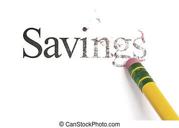 Erasing Savings - Close up of a yellow pencil erasing the...