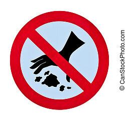 lanzamiento, advertencia,  no, basura, señal