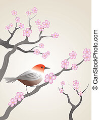 songbird - bird in style of asian sumi-e drawings