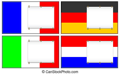 Flags and banners. - Flags of France, Germany, Italy and the...