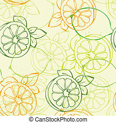 Lemon seamless pattern - Vector backgroundfrom yellow and...