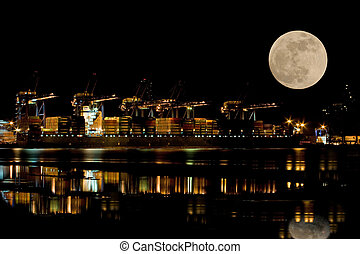 Container Port - Container port at night with moon
