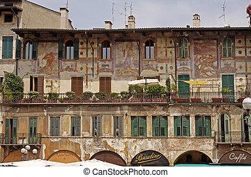 Verona, Piazza Erbe, Veneto, Italy - Verona, Piazza Erbe...