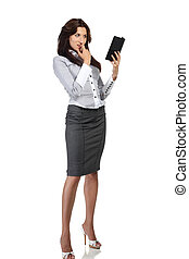 Young woman reading electronic book - Young woman isolated...