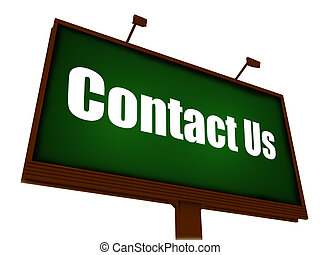 Contact Us  Sign on billboard with blue sky as background