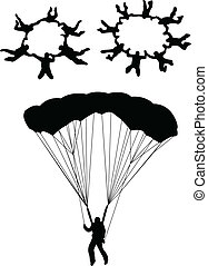 sky divers - Sky diving silhouette - vector