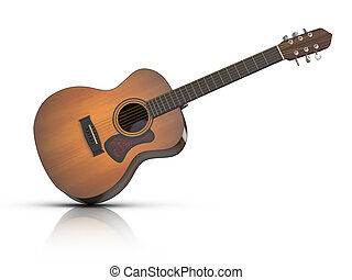 Acoustic Guitar - 3D rendered acoustic guitar with...
