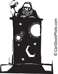 Judge and Night Sky - Woodcut style judge sitting atop his...