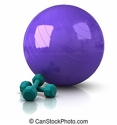 Fitness Ball and Weights.