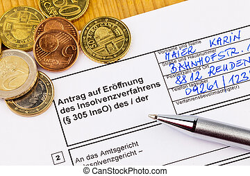 bankruptcy people germany - the application for a bankruptcy...