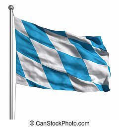 Flag of Bavaria Rendered with fabric texture visible at 100...