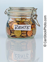 flash with coins for pension provision - a jar of coins for...