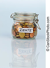 flash with coins for pension provision