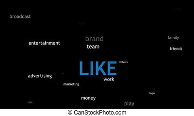 Like Thumb Animation on Black - Social networking words in...