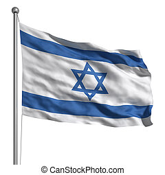 Flag of Israel. Rendered with fabric texture (visible at...