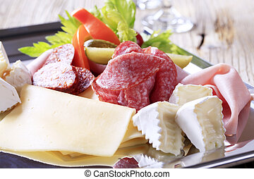 Cold cuts - Variety of cheeses and deli meats on a tray