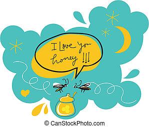 Romantic Flies - Funny romantic flies over a honey jar