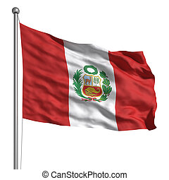 Flag of Peru - Peru flag. Rendered with fabric texture...