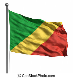 Flag of the Congo Rendered with fabric texture visible at...