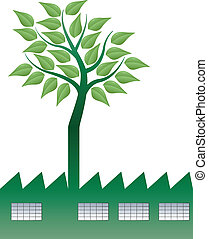 factory tree - illustration of factory with tree in...