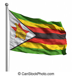 Flag of Zimbabwe. Rendered with fabric texture (visible at...
