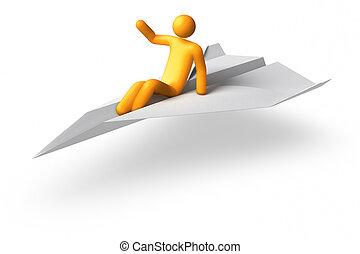 Flying Stick Figure - 3D rendered Flying Stick Figure
