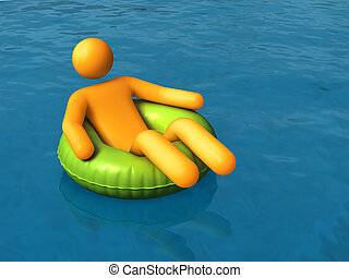 Vacations - Stick figure relaxing on an inner tube.