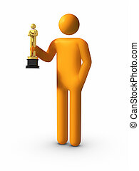 Trophy in hand - Showing his Academy Awards Sean Penn style...