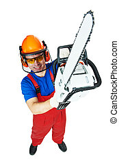 Lumberjack Worker With Chainsaw Isolated