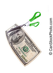 dollars and scissors - a dollar bill and a pair of scissors...