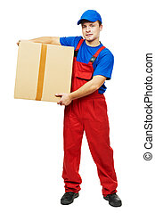delivery man courier with parcel cardboard box - One young...