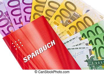 euro banknotes and savings account