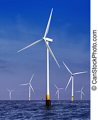 wind turbines generating electricity - white wind turbine...