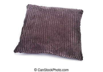 brown corduroy cushion - a brown corduroy cushion on a white...