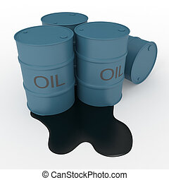 Oil barrels - Oil blue barrels with oil leak. 3d render