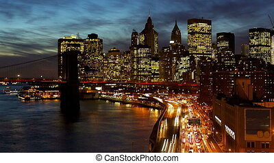 New York City - Busy traffic in New York City Manhattan with...