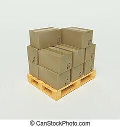 papelão, caixas, madeira, Pallets