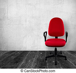 Office chair in vintage interior - Red a chair in old white...