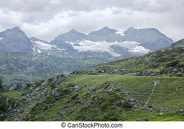 Bernina (Switzerland) - Road to the Pass of Bernina, in...