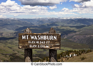 Mt Washburn, Yellowstone Park - The sign at the summit of Mt...