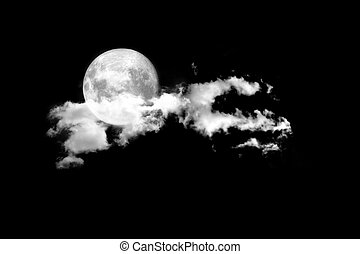 Moon between the clouds in dark nght, a dark night brings a...