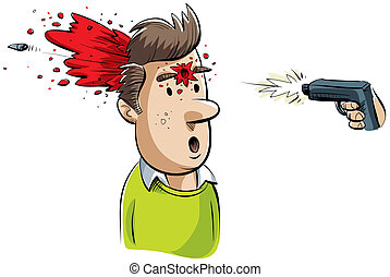 Head Shot - A cartoon man is shot in the head by a gun