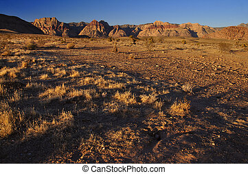 Red Rock Las Vegas - Morning shadows over the desert in Red...